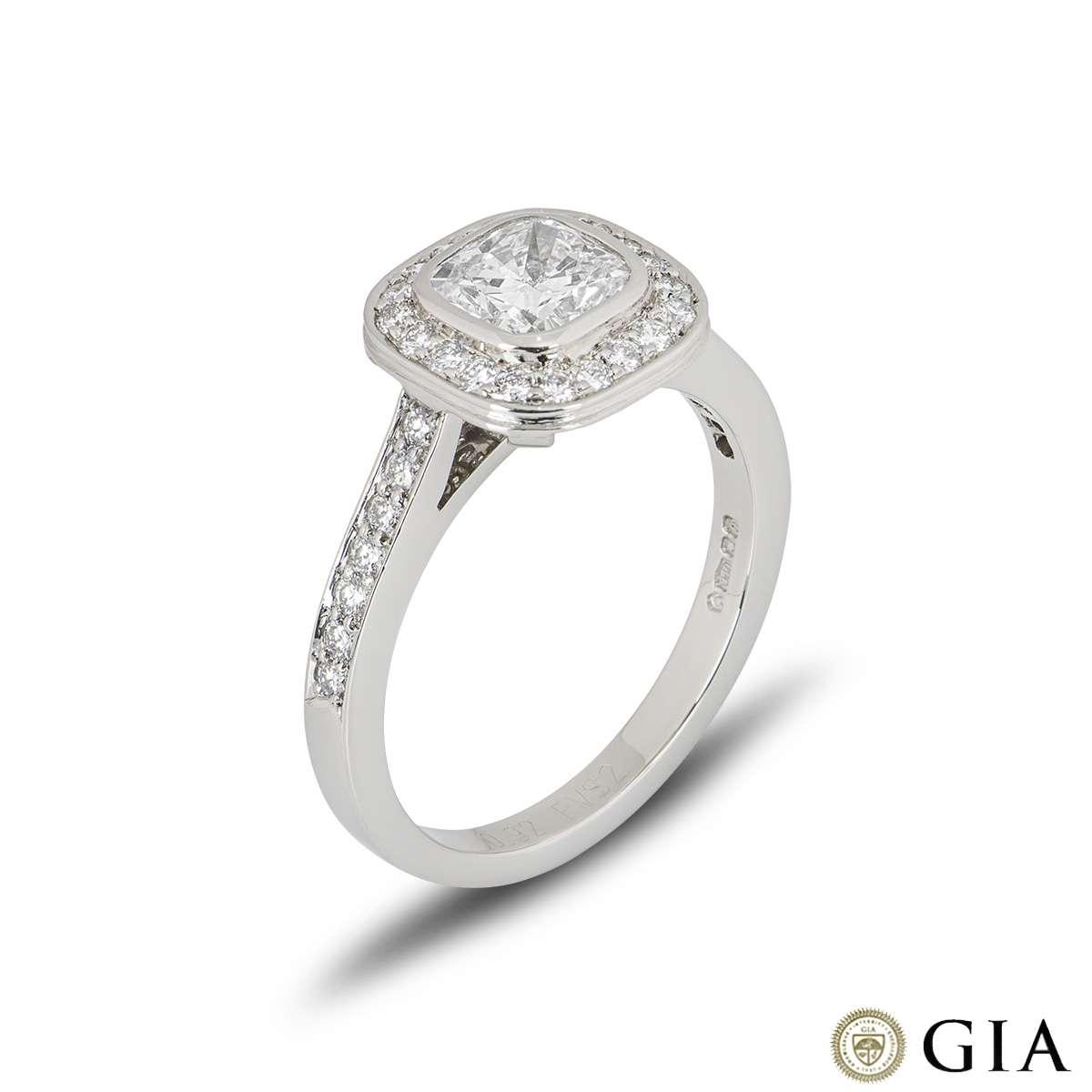 Platinum Cushion Cut Diamond Ring 0.92ct F/VS2